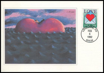 2618 - 29c Heart in Envelope : Love Series 1992 Fleetwood First Day of Issue Maximum Card