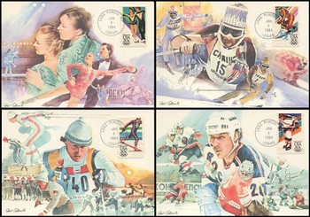2067 - 2070 / 20c Winter Olympic Games 1984 Set of 4 Fleetwood Maximum Cards