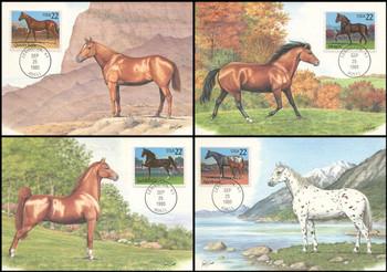 2155 - 2158 / 22c Horses : Horse Breeds Set of 4 Fleetwood 1985 Maximum Card