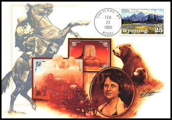 2444 / 25c Wyoming Statehood : Statehood Series 1990 Fleetwood First Day of Issue Maximum Card
