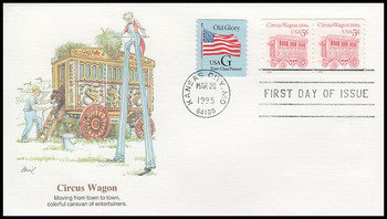 2452D / 5c Circus Wagon Clown 1900s Coil Pair 1995 Fleetwood FDC