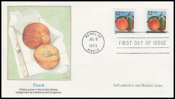 2487 & 2493 / 32c Peach Self-Adhesive & Booklet Combo 1995 Fleetwood FDC