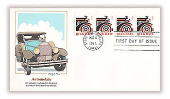 2905 / Automobile 10c Non-Denominated Bulk Rate Coil Strip of 4 Fleetwood 1995 FDC