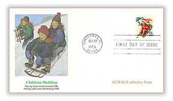 3013 / 32c Children Sledding Christmas 1995 ATM Self-Adhesive Issue Fleetwood First Day Cover