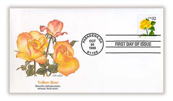 3049 / 32c Yellow Rose Booklet Single 1996 Fleetwood FDC