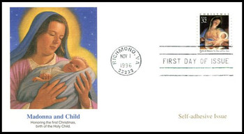3112 / 32c Madonna & Child painting by Paolo de Matteis PSA Issue Christmas 1996 Fleetwood FDC