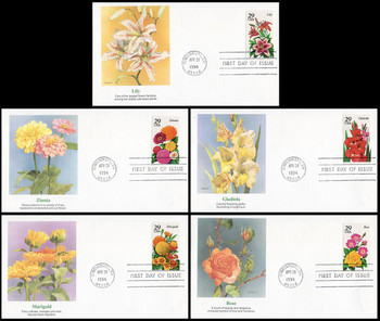 2829 - 2833 / 29c Summer Garden Flowers Booklet Set of 5 Fleetwood 1994 FDCs