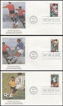 2834 - 2836 /  29c, 40c, 50c World Cup Soccer Championships Set of 3 Fleetwood 1994 FDCs