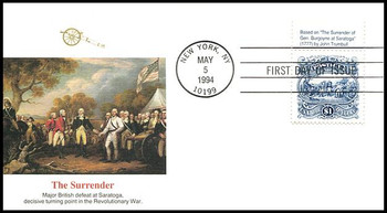 2590 / $1 Surrender of Burgoyne Tab #1 Fleetwood 1994 FDC