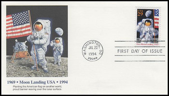 2841a / 29c First Moon Landing 25th Anniversary 1994 Fleetwood FDC