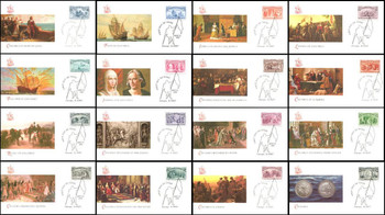 2624a - 2629a / 1c - $5 Columbus Souvenir Sheet Singles Set of 16 Fleetwood 1992 FDCs