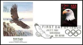 2540 / $2.90 Eagle and Olympic Rings Priority Mail 1991 Fleetwood FDC