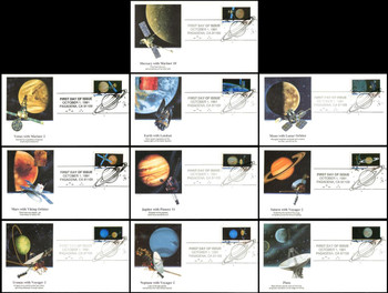2568 - 2577 / 29c Space Exploration / Planets Set of 10 Fleetwood 1991 FDCs