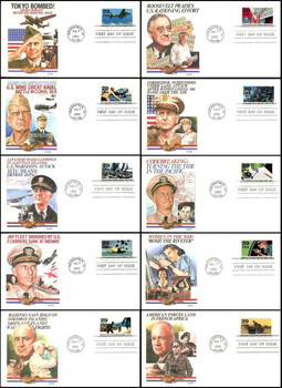 2697a - j / 1942 :  Into the Battle  Set of 10 : World War II / WWII Series 1992 Fleetwood FDCs