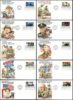 2765a - j / 1943 :  Turning the Tide  Set of 10 : World War II / WWII Series 1993 Fleetwood First Day Covers
