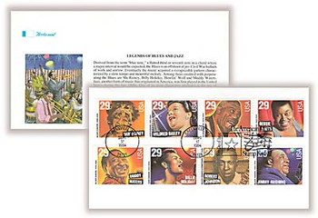 2861a / 29c Blues and Jazz Singers Se-Tenant Strip of 8 Fleetwood 1994 FDC