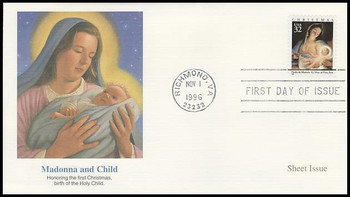 3107 / 32c Madonna and Child Painting by Paolo de Matteis Sheet Issue Christmas 1996 Fleetwood First Day Cover