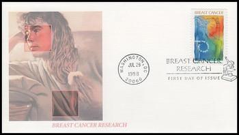 B1 / 32c + 8c Breast Cancer Research Semi-Postal 1998 Fleetwood FDC