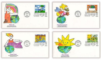 2951 - 2954 / 32c Earth Day / Kids Care Set of 4 Fleetwood 1995 FDCs