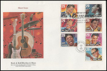 2730a / 29c Rock & Roll / Rhythm & Blues Musicians Sheet Issue Strip of 3 and 4 Oversized Large Format Fleetwood 1993 FDC