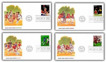 3399 - 3402 / 33c Youth Team Sports Set of 4 Fleetwood 2000 FDCs