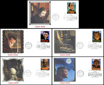 3168 - 3172 / 32c Classic Movie Monsters Set of 5 Fleetwood 1997 FDCs