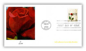 3497 / 34c Rose & Love Letters Convertible Booklet Single Love Stamp Series 2001 Fleetwood First Day Cover