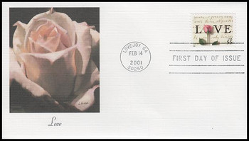 3499 / 55c Rose & Love Letters Love Stamp Series 2001 Fleetwood First Day Cover
