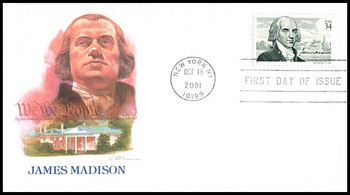 """3545 / 34c James Madison : """" The Father of the Constitution """" 2001 Fleetwood FDC"""
