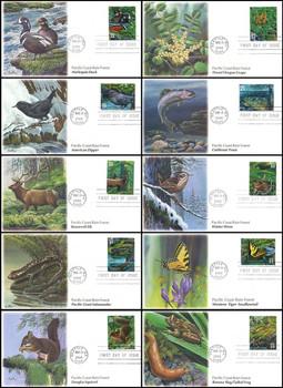 3378a - j / 33c Pacific Coast Rain Forest : Nature of America Series Set of 10 Fleetwood 2000 FDCs