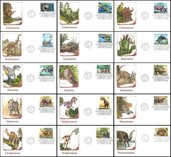 3136a-o / 32c World of Dinosaurs Set of 15 Fleetwood 1997 FDCs