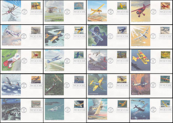 3142a - t / 32c Classic American Aircraft Set of 20 Fleetwood 1997 First Day Covers