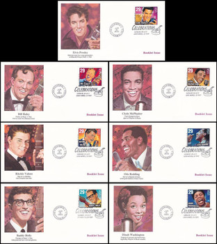 2731 - 2737 / 29c Rock & Roll / Rhythm & Blues Musicians Booklet Issue Set of 7 Fleetwood 1993 First Day Covers