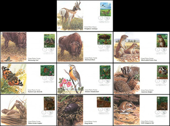 3506a-j / 32c Great Plains Prairie : Nature of America Series Set of 10 Fleetwood 2001 FDCs