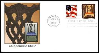 3755 / 4c Chippendale Chair PSA : American Design Series 2004 Fleetwood FDC