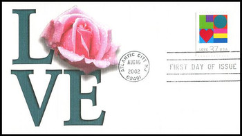 3657 / 37c Love PSA Convertible Booklet Single : Love Stamp Series 2002 Fleetwood First Day Cover