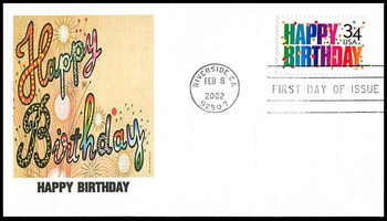 3558 / 34c Happy Birthday 2002 Fleetwood First Day Cover