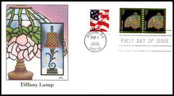 3758 / 1c Tiffany Lamp Coil Pair 2003 Fleetwood First Day Cover