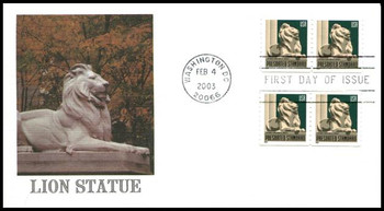 3769 / Non-Denominated (10c) New York Public Library Lion Presorted Standard Dual Coil Pairs 2003 Fleetwood FDC