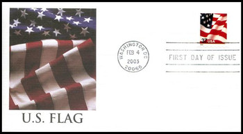 3637 / 37c U.S. Flag PSA ATM Booklet  Single 2003 Fleetwood First Day Cover
