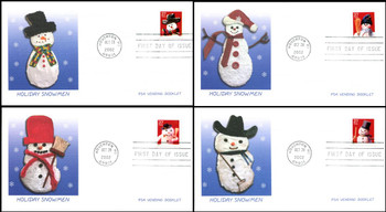 3688 - 3691 / 37c Snowman PSA Vending Booklet Singles Set of 4 Fleetwood 2002 First Day Covers