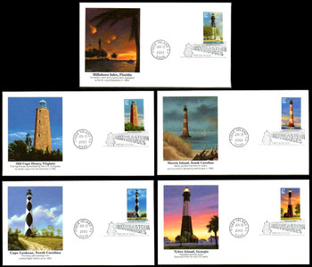 3787 - 3791 / 37c Southeastern Lighthouses Set of 5 Fleetwood 2003 First Day Covers
