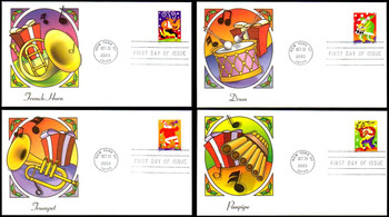 3821 - 3824 / 37c Holiday Music Makers Set of 4 : Christmas Series Fleetwood 2003 First Day Covers