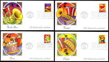 3821v - 3824v / 37c Holiday Music Makers PSA Double-Sided Convertible Booklet Singles Set of 4  Fleetwood 2003 FDCs
