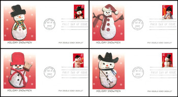 3684 - 3687 / 37c Snowman PSA Double-Sided Booklet Singles Set of 4 Fleetwood 2002 First Day Covers
