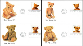 3653 - 3656 / 37c Teddy Bears 100th Anniversary Set of 4 Fleetwood 2002 FDCs