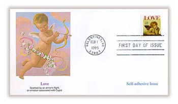 2949 / Love : Cherub 32c Non - Denominated Self - Adhesive Issue / Love Stamp 1995 Fleetwood FDC
