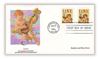 2957 and 2959 / 32c Love - Cherub Booklet and Sheet Issue Combo / Love Stamp 1995 Fleetwood FDC