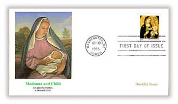 3003a / 32c Madonna and Child by Giotto di Bondone Booklet Single Issue Christmas 1995 Fleetwood FDC