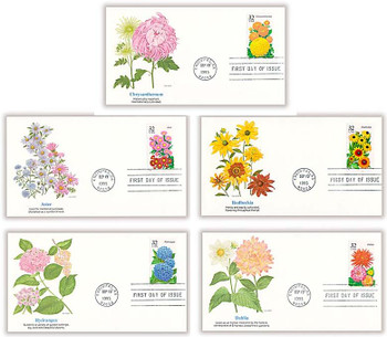 2993 - 2997 / 32c Fall Garden Flowers Set of 5 Fleetwood 1995 FDCs
